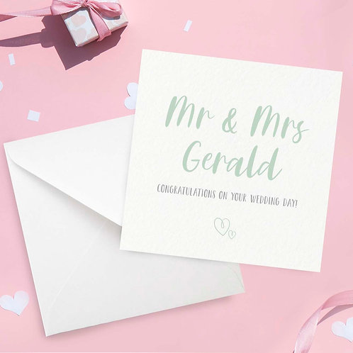 Personalised Mr & Mrs Wedding Day Card