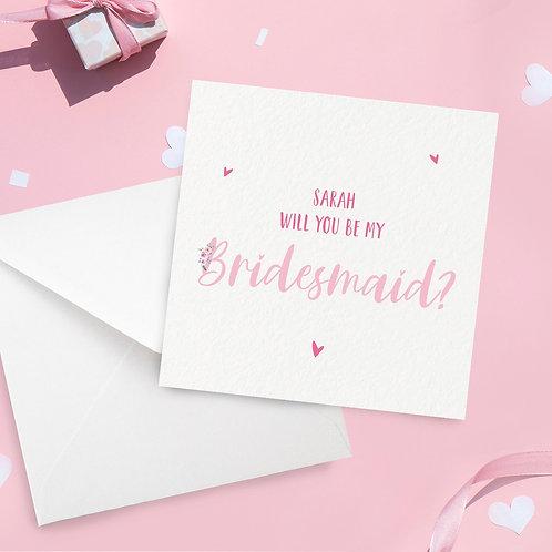 Personalised Floral Bridesmaid Proposal Card