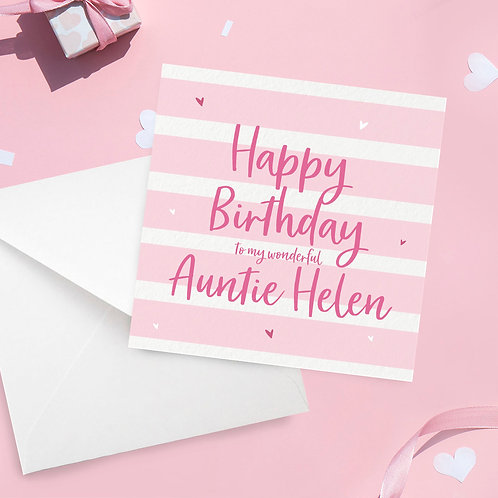 Personalised Auntie Stripe Birthday Card