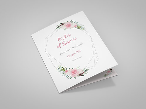 Geometric and Blush Roses Order of Service