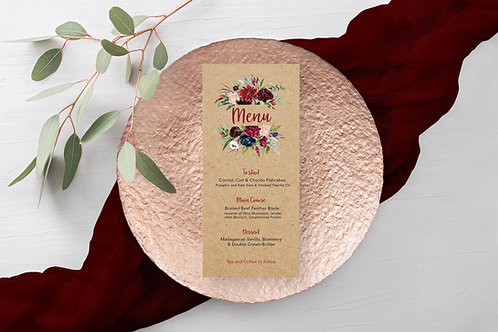 Rustic Autumn Floral Wedding Menu