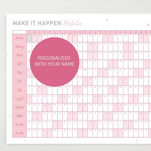 Personalised 2021 Motivational Wall Planner - Pink