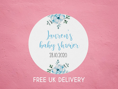 Blue Floral Baby Shower Stickers - with Date