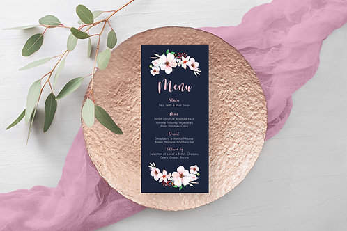Navy and Blush Floral Wedding Menu