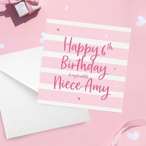 Personalised Niece Stripe Birthday Card