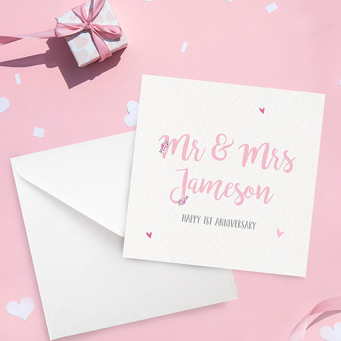 Anniversary Card Personalised with Surname