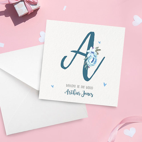 Personalised Baby Boy Initial Card