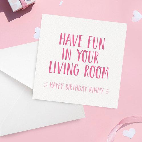 Living Room Lockdown Birthday Card
