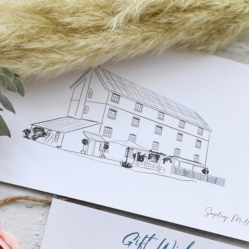 Custom Wedding Venue Line Drawing