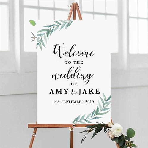 Green Leaves Welcome Sign