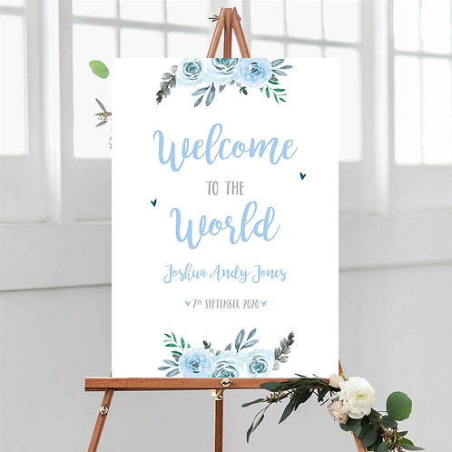 Blue Floral Welcome to the World Sign