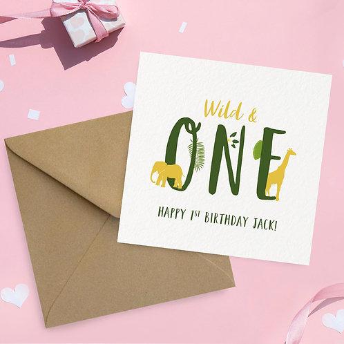 Children's 1st Birthday Card Animal Theme
