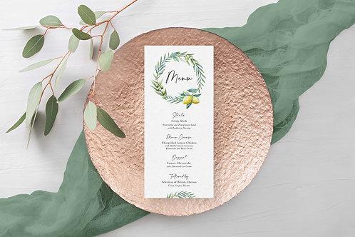 Lemon and Olive Branch Italian Theme Menu