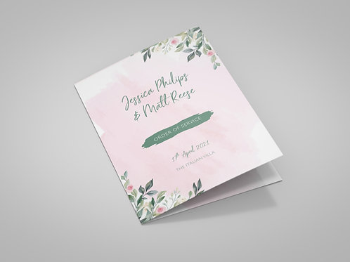 Pink Watercolour and Greenery Order of Service