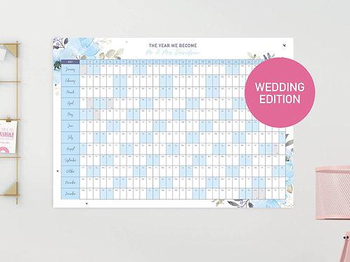 2021 Personalised Wedding Wall Planner (Blue)