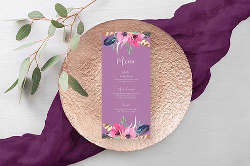 Bright Purple Floral Wedding Menu