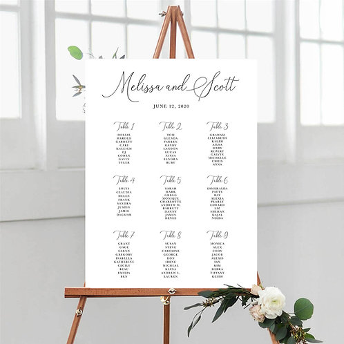 Classic Elegant Table Plan Board