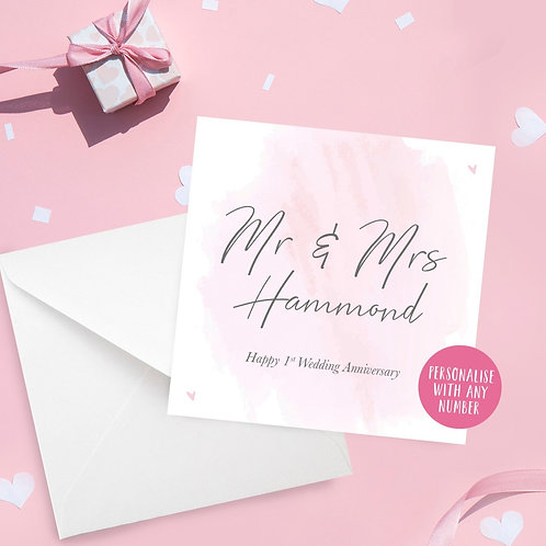 Personalised Pink Watercolour Anniversary Card