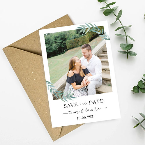 Photo Save the Dates with Green Leaves