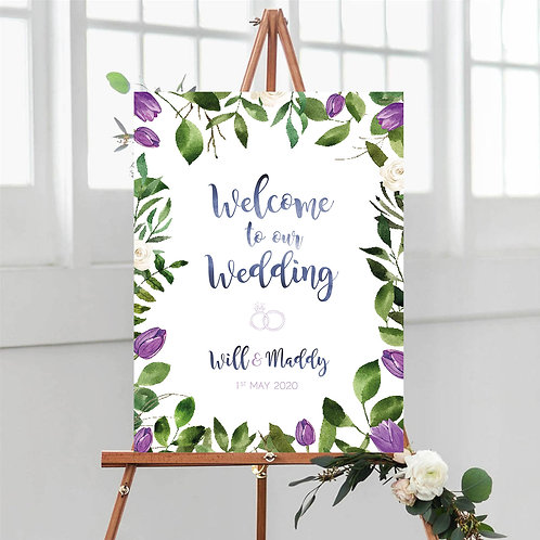 Purple Tulips and Greenery Welcome Sign