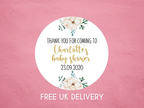 Neutral Floral Thank You Baby Shower Stickers