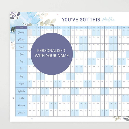 Personalised 2021 Blue Motivational Wall Planner - Blue