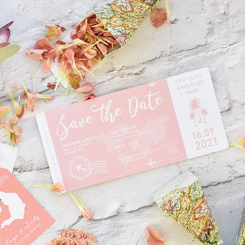 Boarding Pass Save the Dates