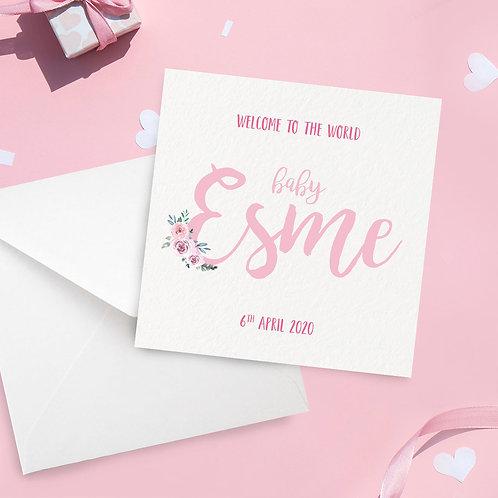 Personalised Baby Girl Name Card