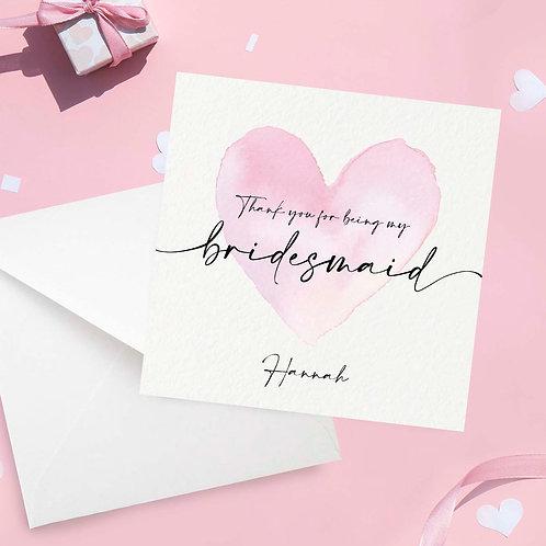 Personalised Thank You Bridesmaid Card
