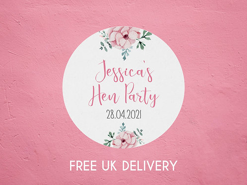 Pink Floral Hen Party Stickers - with Date