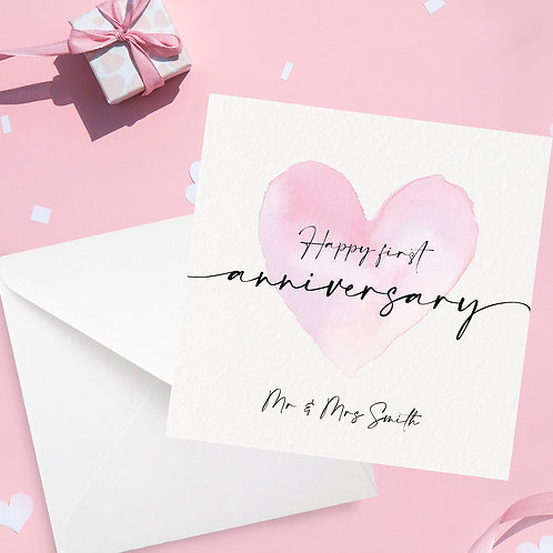 Personalised Heart Anniversary Card