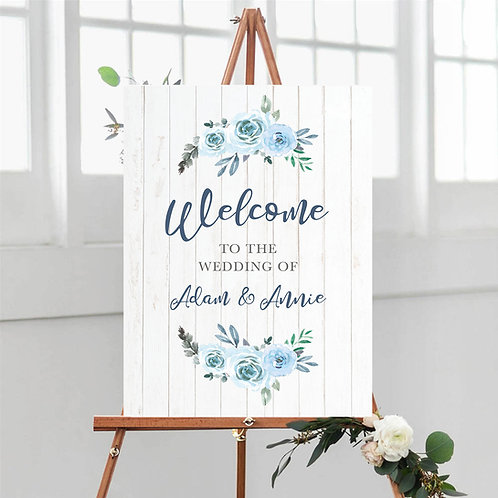 Blue Floral and White Wood Welcome Sign