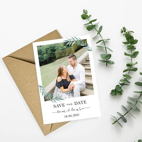 Green Leaf Floral Photograph Save the Dates
