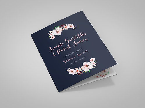 Navy and Blush Florals Order of Service