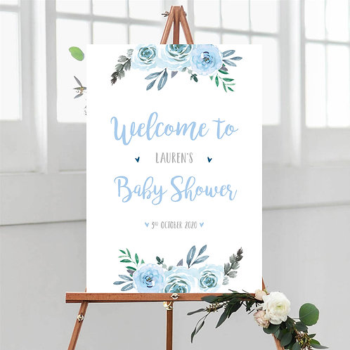 Blue Floral Baby Shower Welcome Sign