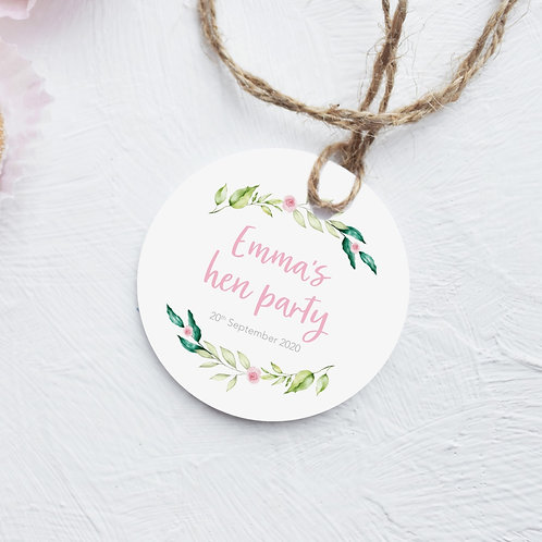 Personalised Floral Hen Party Tags