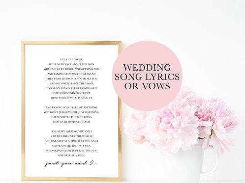 Wedding Song Lyrics or Vows Print