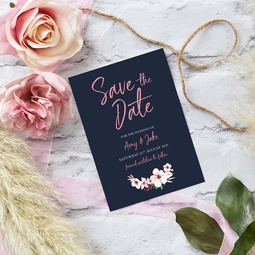 Blush and Navy Floral Save the Dates