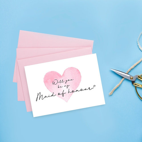 A6 Maid of Honour Proposal Card