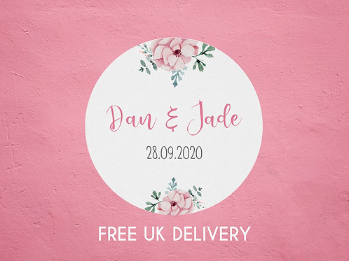 Pink Floral Name Stickers