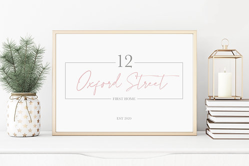 Personalised First Home Address Print