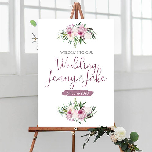 Blush Pink Peony Welcome Sign