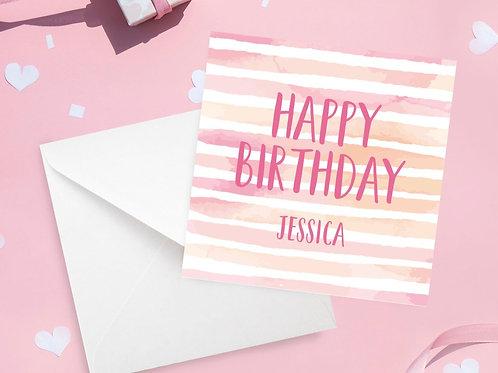 Personalised Watercolour Stripe Birthday Card