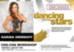 Karina Smirnoff poses in black and gold dress as a guest instructor from dancing with the stars