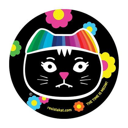 Rainbow Black Kat Round Sticker