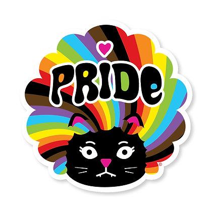 Cool Kat Rainbow Swirl Die-Cut Sticker