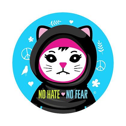 No Hate No Fear Round Sticker