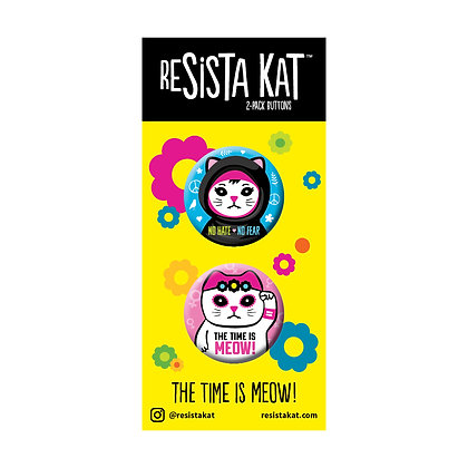 2-Pack No Hate/Time is Meow Buttons