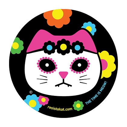 Mexican Kat Head Round Sticker