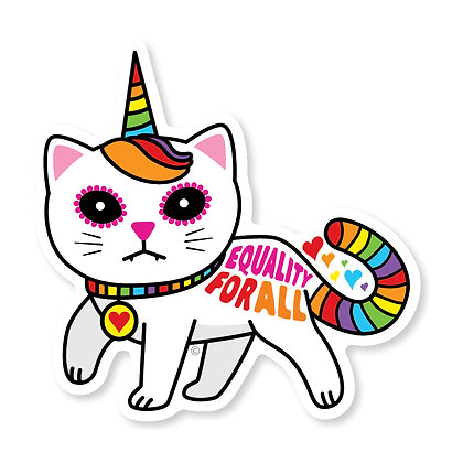 Equality for All Unicorn Kitty Die-Cut Sticker